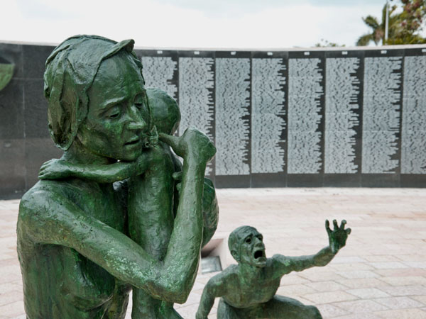 <strong>A Series of Vignettes</strong> The series of sculptures represent different families helping each other. Fathers, mothers and children comfort each other with love but feel anguish towards their circumstances.