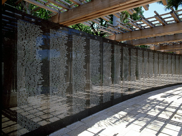 <strong>The Memorial Wall</strong> The Memorial Wall is a reminder of the human souls whose lives were extinguished in the Holocaust. In addition to the many thousands of names already etched into the wall, more names are being accommodated as they are su